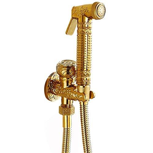 LONGWDS Aseo de mano de pulverización de acero inoxidable Ducha Conjunto for el pañal del paño del bebé - Aseo spray válvula de ángulo Conjunto Pistola grifo Bidet Bidet Lavadora accesorio de la ducha