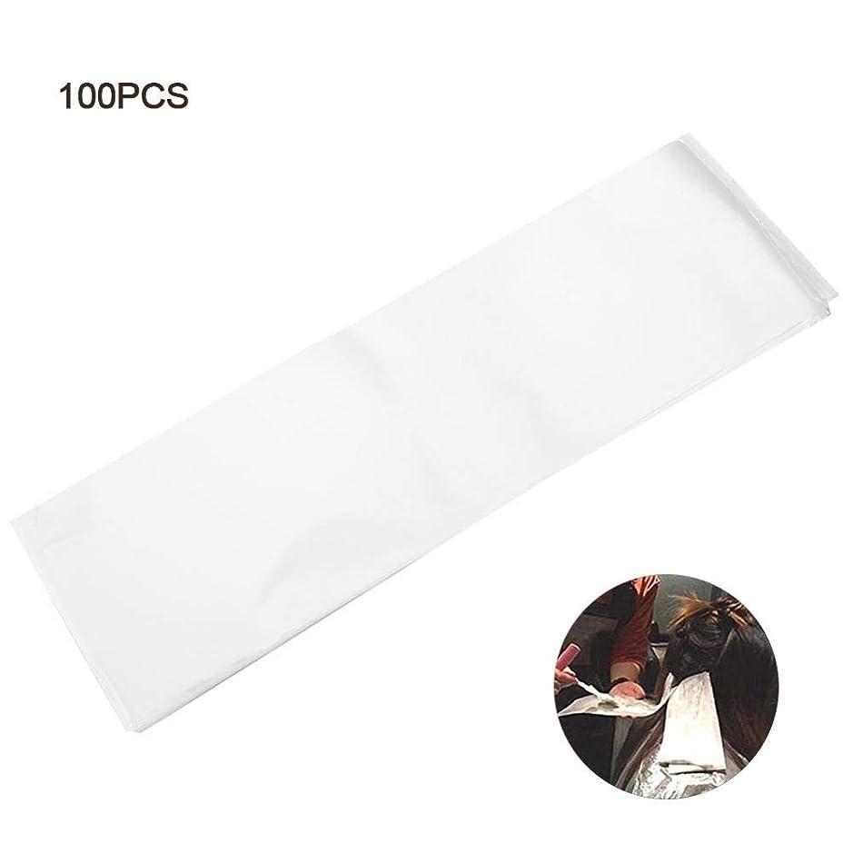 センチメートル幻滅プレミアプロサロンヘアダイペーパー、髪染め用 プラスチック製 染毛紙 再利用可能 分離 紙 ヘアカラー サロン 自宅 DIYヘア染めツール 使用やすい - ホワイト 100枚