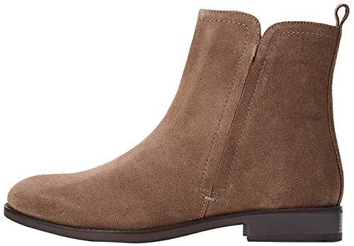 find. Flat Leather Pull On Botines, Marrón Almond, 38 EU