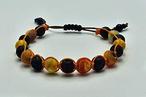 Jaspis ('multicolour sunshine orange') Naturstein Perlen Shamballa-Armband mit Lavastein Perlen, Unisex, verstellbar, Sabijou