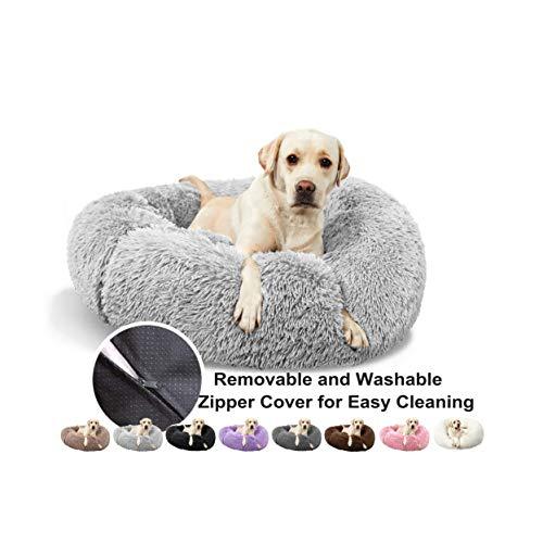 Hundebett Katzensofa, Deluxe Round Pet Bett Haustier Nest für Hunde und Katzen, mit Reißverschluss, Leicht zu Entfernen und zu Waschen, für Hunde und Katzen - Grau Ø 60cm