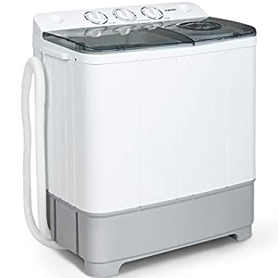 Portable Washing Machine, KUPPET 21lbs Compact Twin Tub Washer and Spin Dryer Combo for Apartment, Dorms, RVs, Camping and More, White&Grey