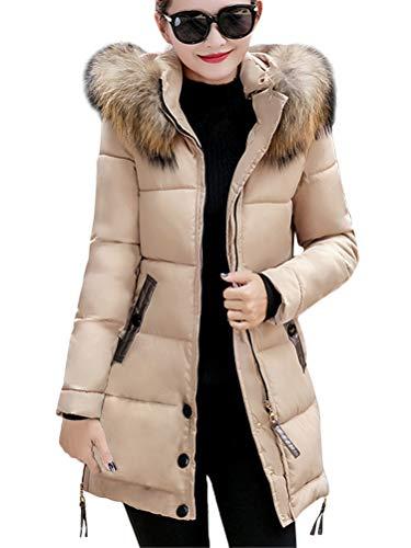 ShallGood Mujer Abrigo Chaqueta Slim Fit Espesar Casual Cálido Invierno Pelaje Collar Parka con Capucha Manga Larga Chaquetas Acolchado Anorak Jacket Outwear Coats Marrón ES 42