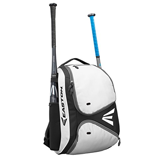 EASTON E210BP Bat & Equipment Backpack Bag | Baseball Softball | 2020 | White | 2 Bat Sleeves | Smart Gear Storage Shelf | Vented Shoe Pocket | Valuables Pocket | Fence Hook