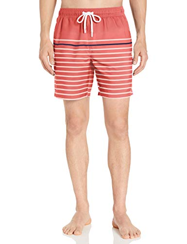Amazon Essentials Men's 7' Swim Trunk, Coral/Navy Small Stripe, X-Large