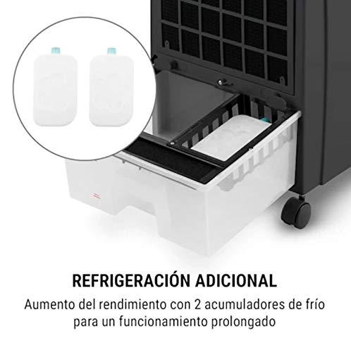 oneConcept CTR-1 – Enfriador de aire 4 en 1, Ventilador, Enfriador de aire, Humidificador, Limpiador de aire, Ionizador, Depósito de 8 L, Caudal de 360 m³/h, 65 W, Portátil, Mando a distancia, Negro