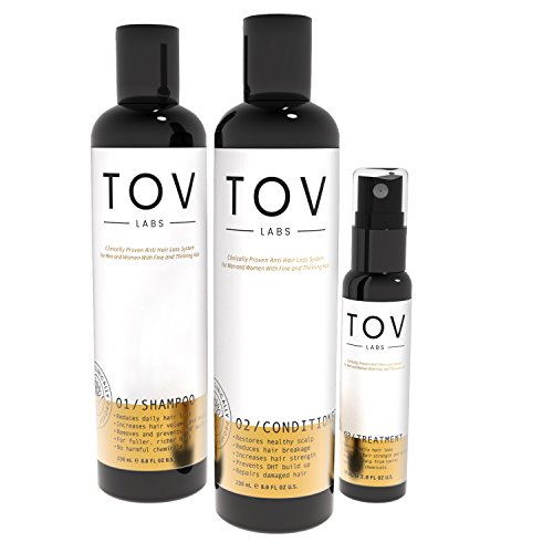 TOV LABS -Clinically Proven, Naturally Based, Anti Hair Loss Kit unisex (Fine or Thinning Hair) Removes DHT for Thicker Fuller Hair. Dandruff Control (Shampoo,Conditioner,Treatment) (TL-H101-KIT-NEW)