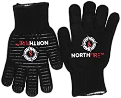 The NorthFire heat resistant grilling gloves are composed of Aramid fibers and heat resistant fibers that can handle heat up to 932°F (500°C). With these fibers, your gloves will not melt or soften when exposed to high temperatures, making this the m...