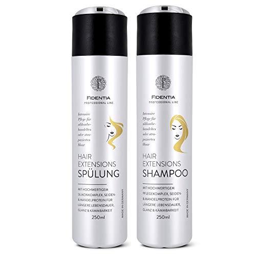 Fidentia Hair Extensions Shampoo & Spülung je 250 ml | Intensiv Pflege für Haarverlängerung, Perücke, Haarteil und Tressen