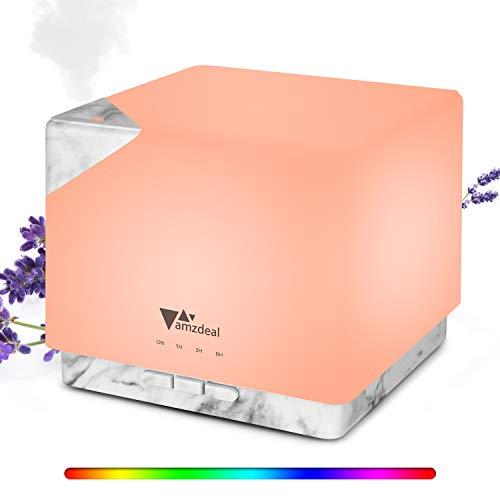 Amzdeal 700ml Difusor de Aceites Esenciales, Difusor de Aromas con Luz Nocturna de 8 Colores, Humidificador Ultrasónico sin BPA con Temporizador, Apagado Automático & Silencioso, para Yoga Spa Hogar