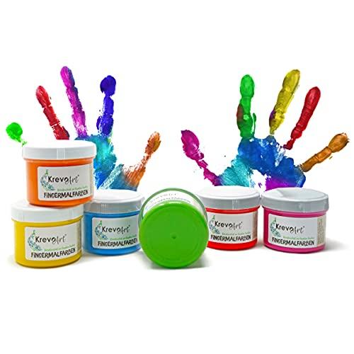 Krevo Art Fingermalfarben, Fingerfarben für Kinder, 6 leuchtkräftige und deckende Farben je 60ml, Auswaschbar, Vermalbar mit Pinsel, Schwamm, Fingern und Füßen