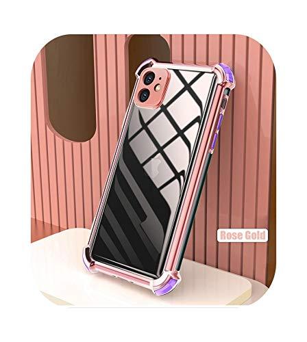 Carcasa galvanizada ultra fina transparente para iPhone 12 Mini 11 12 Pro Max XS Max X XR 8 7 Plus suave TPU esquinas Bumper Cover - Oro rosa para iPhone 12Pro Max