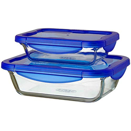 Pyrex Microwave Safe Rectangle Roaster with Vented Lid Set of 21.7 Litre Blue (Pack of 2)