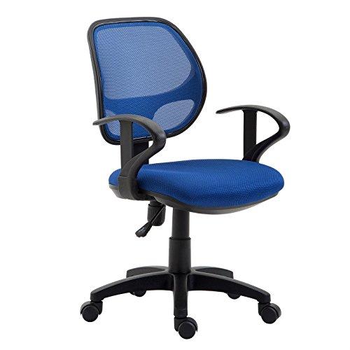 IDIMEX Kinderdrehstuhl Schreibtischstuhl Drehstuhl Bürodrehstuh COOL, 5 Doppelrollen, Sitzpolsterung, Armlehnen, in blau