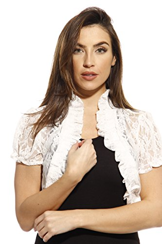 2502-WHT-2X Just Love Plus Size Shrug / Women Cardigan,White With Lace,2X