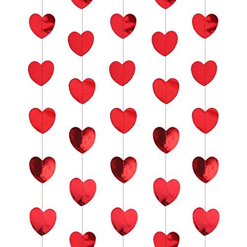 Oblique Unique® Herz Girlande Deckenhänger Banner mit Herzen Deko für JGA Junggesellinnenabschied Hen Party Hochzeit Valentinstag Geburtstag Party - Farbe wählbar (Rot)