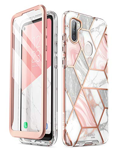 i-Blason Cosmo Series for Samsung Galaxy A11 Case (2020 Release), Slim Full-Body Stylish Protective Case with Built-in Screen Protector (Marble)