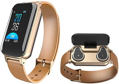 Pulsera de actividad física reloj inteligente, impermeable al aire libre, podómetro, monitor de actividad de calorías, seguimiento de sueño, recordatorio de mensaje para Android iOS - marrón