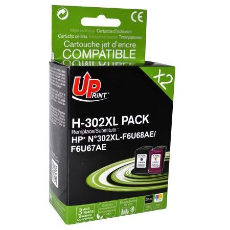 Cartouches Compatibles H-302 XL / F6U68AE / F6U67AE de Marque Française Uprint (Noir + Couleur) - Qualite Equivalente A L'Originale Et Quantite d'encre Superieure A L'Originale