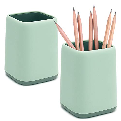 2 Pack Desk Pen Holder,Two-Tone Cute Pencil Cup Makeup Brush Holder,Durable Desktop Organizer Pencil Holder for Desk,Vanity Table,Office Supplies (Light Green)