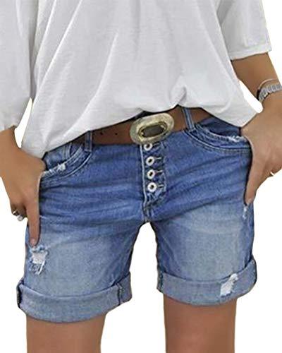 Minetom Donna Shorts Jeans Casual Estate Elastico in Vita Denim Pantaloncini Corti Vita Alta Boyfriend Bermuda Hot Pants con Tasche C Blu Medium