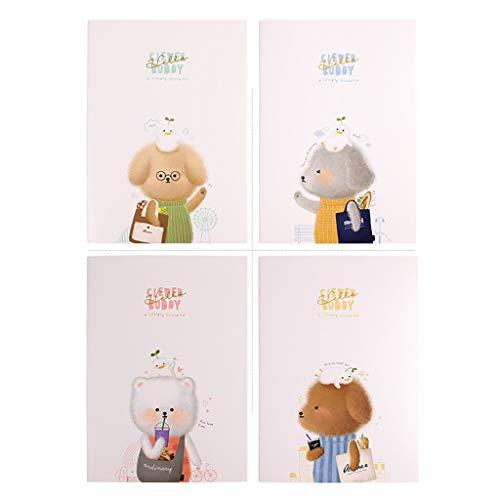 KYAM Libreta Cuaderno Agenda Libreta 4 Paquete portátil clásico, Cubierta Dura, Grande de Papel Superior de Grueso Sin través, Cuaderno for Las Mujeres, Negocios Diarios para Escribir (Color : Cute)