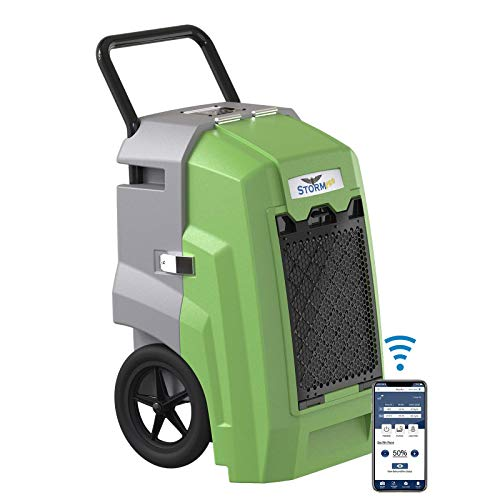 AlorAir 180 PPD Smart Wi-Fi Commercial Dehumidifier, Storm Pro Large Industrial Dehumidifier with Pump, Compact, Portable, Auto Shut Off, for Basements, Garages, and Job Sites, 5 Years Warranty, Green