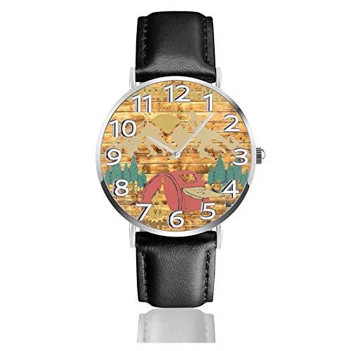 Reloj de Pulsera Happy CAM-pers Wood Back Amarillo Durable PU Correa de Cuero Relojes de Negocios de Cuarzo Reloj de Pulsera Informal Unisex