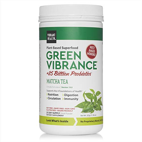 Vibrant Health, Green Vibrance Matcha Tea, Plant-Based Superfood Powder, Vegan Friendly, 25 Servings