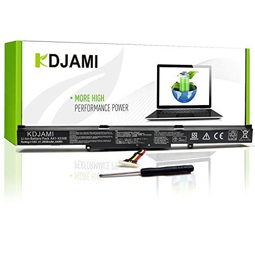 KDJAMI A41-X550E Batterie pour ASUS X751L K751L R510J F751L R751L R752L X450 X450E X450FJ A450J A450E X550E X550D X550V X550Z X550DP X550ZA X751M F450 F751MA- 1 an Garantie【15V 44Wh】