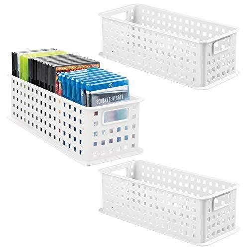 mDesign Juego de 3 Cajas organizadoras para DVD – Práctica Caja para DVD, CD y Videojuegos de PS4, etc. – Caja de plástico Grande con Asas – Porta DVD para películas o Juegos de PC – Blanco