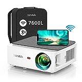 Proyector WiFi Bluetooth 1080P, YABER V6 7600 Lúmenes Proyector WiFi Full HD 1080P Nativo Soporta 4K, Ajuste Digital de 4 Puntos, Proyector Portátil Zoom -50%, Proyector LED para Cine en Casa y PPT