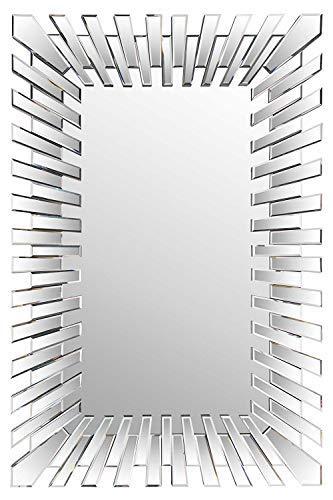 Modern Unique 3D Sunburst All Glass Venetian Rectangular Wall Mirror