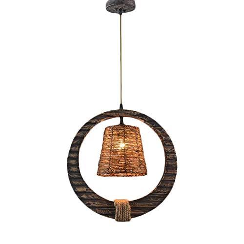 Hanglamp houten ring vorm henneptouw restaurant bruin handgeweven rotan decoratie traditionele gloeilampen plafondlamp