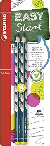 Ergonomischer Dreikant-Bleistift für Linkshänder - STABILO EASYgraph in petrol - 2er Pack - Härtegrad HB