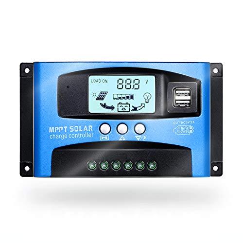 SolaMr 50A Regulador de Carga Solar 12V/24V Panel Solar Regulador de Carga de la Batería con Pantalla LCD y Doble Puerto USB - 50A