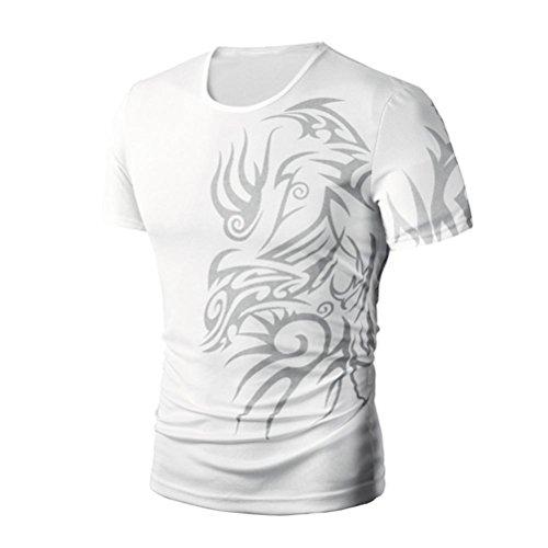 VEMOW T-Shirts Herrren, Männer Sommer Abstrakt gedruckt Kurzarm Dünn Tops Bluse