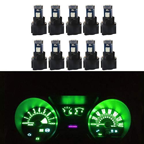 WLJH Lot de 10 ampoules LED T5 très lumineuses pour tableau de bord avec douille T5 à verrouillage par torsion Vert