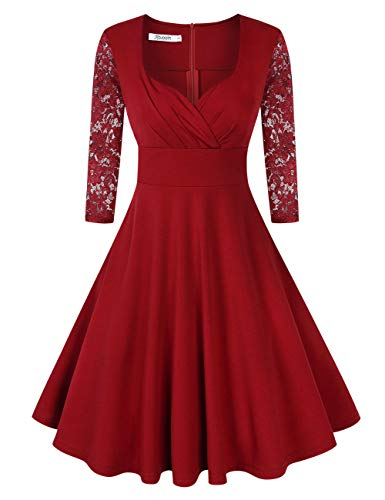 KOJOOIN Damen 50er Vintage Kleid Retro/Cocktailkleid/Abendkleid/Ballkleid Rockabilly V-Ausschnitt Kleid Knielang Langarm Bordeaux Weinrot L