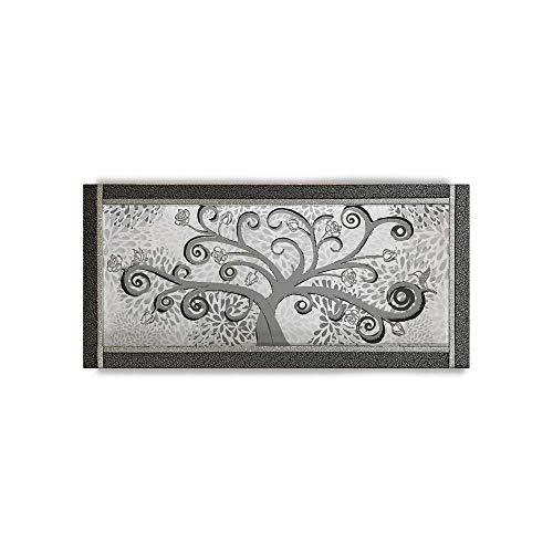 Quadro Ariel Ecopelle Nera Albero della Vita 24 Canvas+Glitter Argento 132x62cm