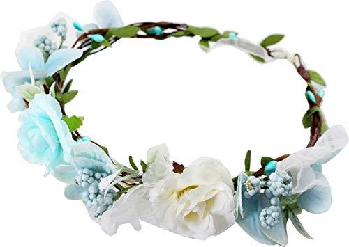 Flower Crown White Blue Girls - Floral Headband Headpiece Wreath Womens - Artificial Silk Roses Wedding Bridal Boho Kids Toddler