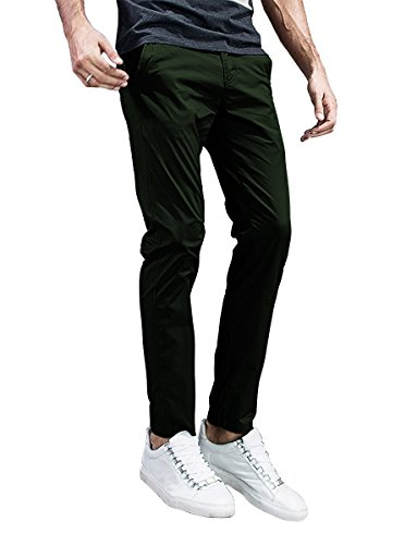 Match Mens Slim-Tapered Flat-Front Casual Pants (32, 8105 Dark Army Green)