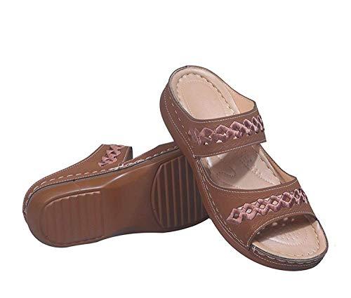 CCJW Sandalias de cuña baja sin cordones en los dedos del pie, sandalias de cuña hueca y zapatillas, zapatillas de mujer para uso exterior-marrón_38, zapatillas de ducha espalda abierta kshu