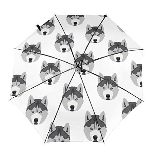 Husky Dog – Sombrilla automática triple plegable para el sol