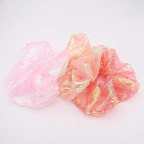 SWINATE Women Colorful Organza Oversized 18cm Hair Scrunchie Hair Gums Striped Fabric Rubber Bands 3PC (Style 8)