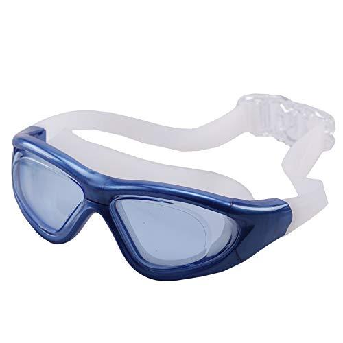 MHP zwembril voor volwassenen, galvanisch zwemmen, professionele zwembril, vlak licht, waterdicht, anti-condens, uniseks, groot montuur blauw 1