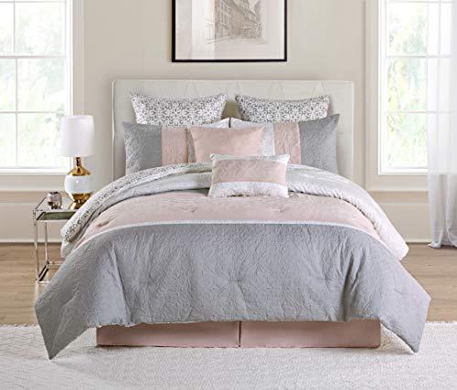 VCNY Home Cordelia Embroidered 8 Piece Bedding Comforter Set, King, Blush
