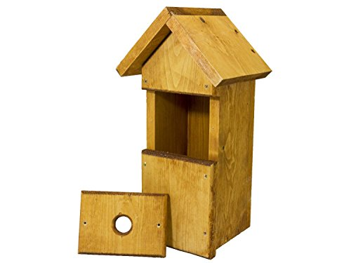 SpyCameraCCTV Green Feathers Wooden Bird Box Deluxe Alpine Chalet Style With Triple Front Design, UK Hand Crafted Nest Box House