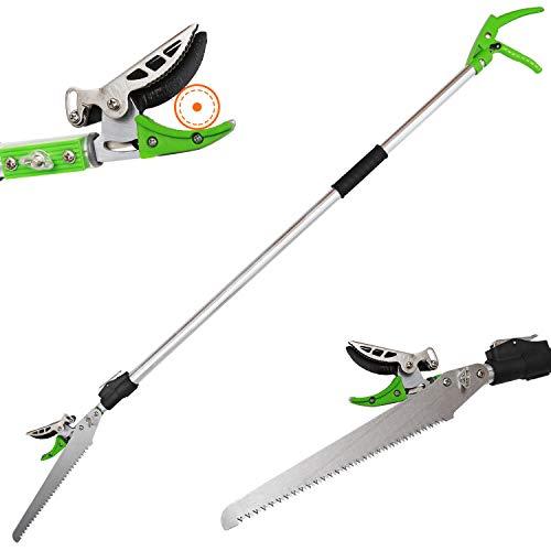 KSEIBI Telescoping Cut and Hold Long Reach Bypass Garden Pruner, Pole Saw, Extendable Saw, Fruit Picker Harvester, Gardening Shear (6.5-13 Feet Telescoping)