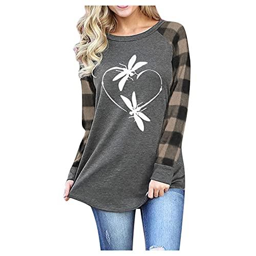 Womens Christmas Raglan Long Sleeve Buffalo Plaid Shirt Loose Fitting Tunic Tops